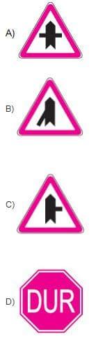 Aşağıdaki trafik işaretlerinden hangisi tali yolda bulunur?