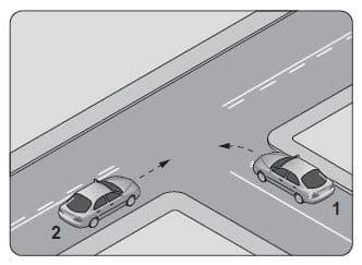 Şekildeki kontrolsüz kavşakta 1 numaralı aracın sürücüsü ne yapmalıdır?