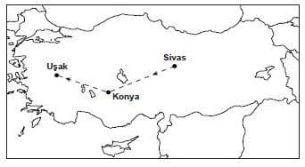 Sivas'tan hareket eden bir araç, haritada görüldüğü gibi önce Konya'ya oradan da Uşak'a gitmiştir.