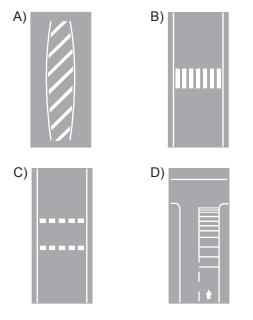 Taşıt yolu üzerine çizilen aşağıdaki yatay işaretlemelerden hangisinin adı, yavaşlama uyarı çizgileridir?
