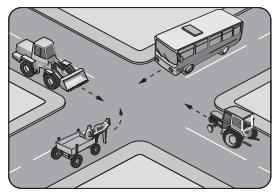 Şekilde görülen kontrolsüz kavşakta, ilk geçiş hakkını hangi araç kullanmalıdır?