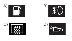 Aracın gösterge panelinde, aşağıdaki ikaz ışıklarından hangisinin yanıyor olması, arka cam rezistansının çalışmakta  olduğunu bildirir?