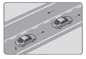 Şekildeki kara yolunda 1 numaralı araç sürücüsünün Aşağıdakilerden hangisini yapması yanlıştır?