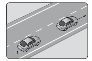 Takip mesafesi, saatteki hızın en az yarısı kadar metre olduğuna göre; 1 numaralı araç ile önündeki araç arasında en az kaç metre olmalıdır?