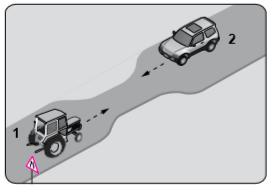 Şekildeki gibi eğimsiz iki yönlü dar yoldaki karşılaşmada 1 numaralı aracın sürücüsü ne yapmalıdır?