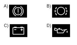 Aracın gösterge panelinde aşağıdaki ikaz ışıklarından hangisinin yanıyor olması, el freninin çekili olduğunu gösterir?