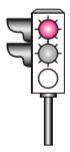 Şekildeki gibi ışıklı trafik işaret cihazında, sarı ve kırmızı ışığın birlikte yanması sürücüye aşağıdakilerden hangisini bildirir?