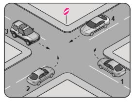 Şekildeki kara yolu bölümünde hangi numaralı taşıtın ok yönündeki hareketi yasaktır?