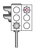 Şekildeki ışıklı trafik işaret cihazında, yeşil ışık ve kırmızı oklu ışık birlikte yanmaktadır. Bu durumda sürücülerin aşağıdakilerden hangisini yapması yanlıştır?