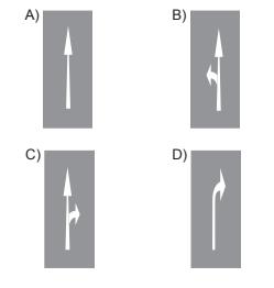 Taşıt yolu üzerine çizilen aşağıdaki yatay işaretlemelerden hangisi, şeridin sadece ileri yönde seyir için olduğunu bildirir?