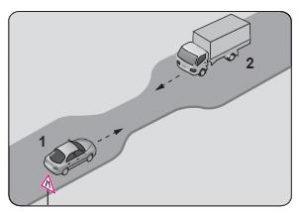 Şekildeki gibi eğimsiz iki yönlü dar yoldaki karşılaşmada 2 numaralı aracın sürücüsü ne yapmalıdır?
