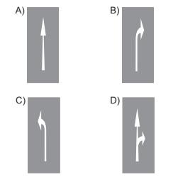 Taşıt yolu üzerine çizilen aşağıdaki yatay işaretlemelerden hangisi, şeridin sadece sağa dönüş için olduğunu bildirir?