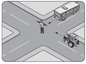 Şekildeki trafik görevlisinin işaretine göre aşağıdakilerden hangisi doğrudur?