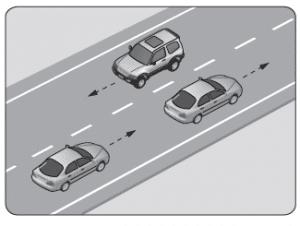 Şekildeki araçların seyrettiği taşıt yolunun çizgilerle ayrılmış her bir bölümüne ne ad verilir?