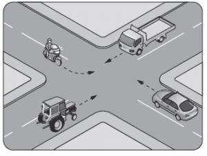 Şekildeki kontrolsüz kavşakta ilk geçiş hakkını hangi araç kullanmalıdır?