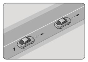 Şekle göre 1 numaralı aracın önündeki aracı geçmesi yasaktır.