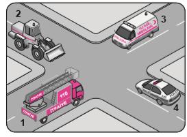 Şekildeki araçların görev hâli durumunda geçiş üstünlüğü sıralaması nasıl olmalıdır?