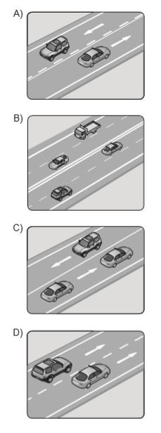Aşağıdakilerin hangisinde taşıtlar tek yönlü kara yolunda bulunmaktadır?