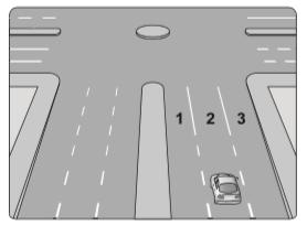Şekildeki araç sürücüsü kavşaktan sağa dönüş yapmak için hangi şeridi izlemelidir?