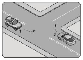 Şekle göre kontrolsüz kavşakta karşılaşan araçlardan hangisi ilk geçiş hakkını kullanmalıdır?